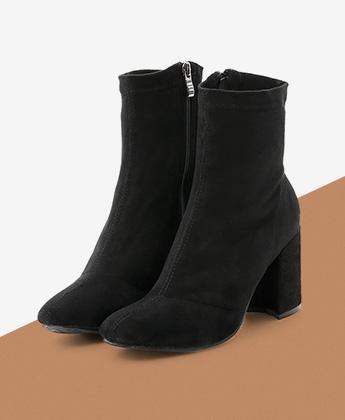 顯瘦感絨料方頭合腿短靴