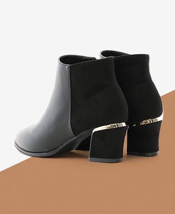 拼接設計鍍金跟尖頭短靴