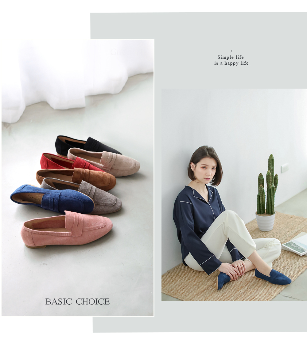 同色拼接樂福鞋 7 色以及藍色樂福鞋穿搭拼接圖