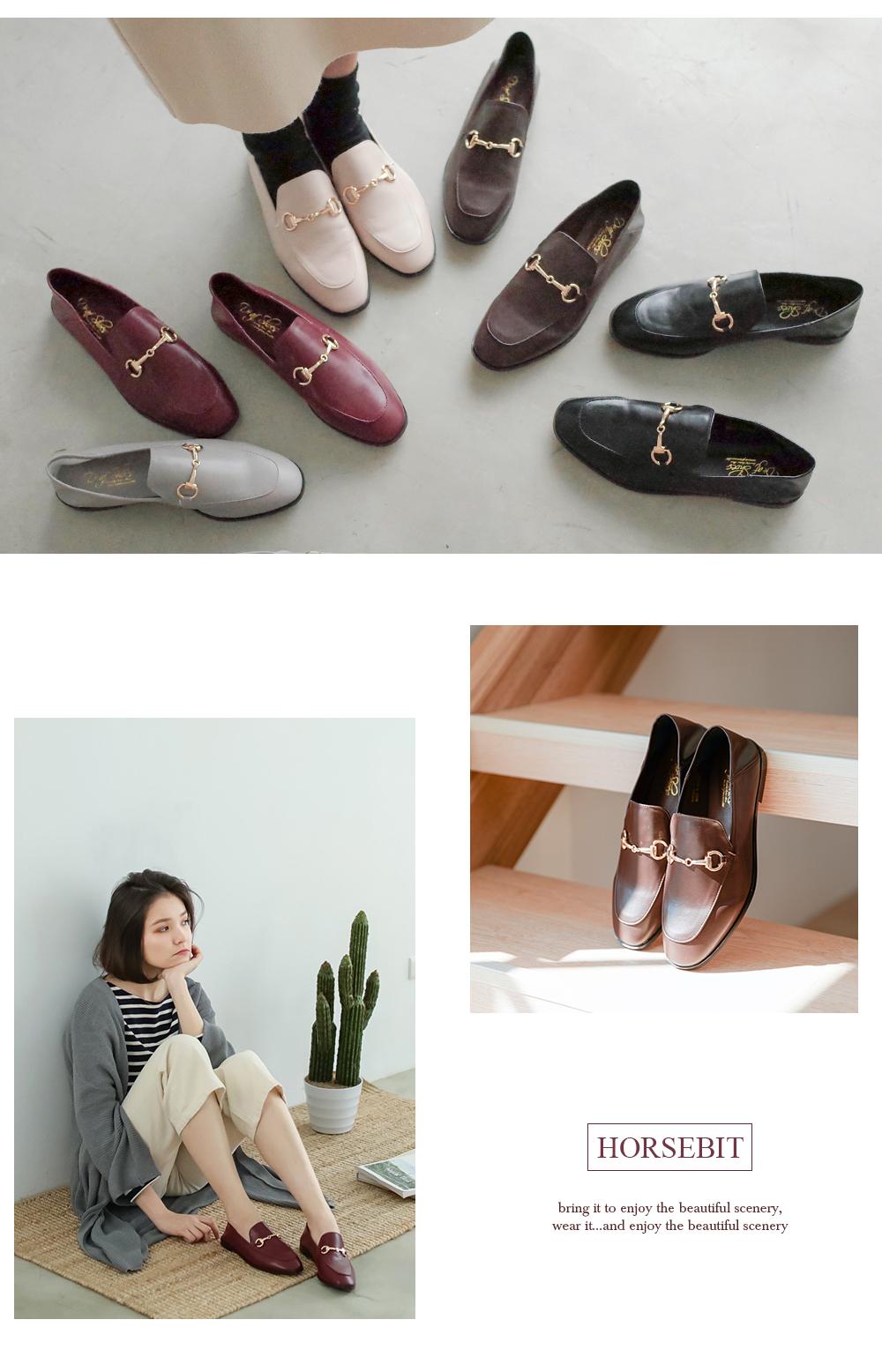 多種顏色的兩穿式樂福鞋,穿搭及近照拼貼圖