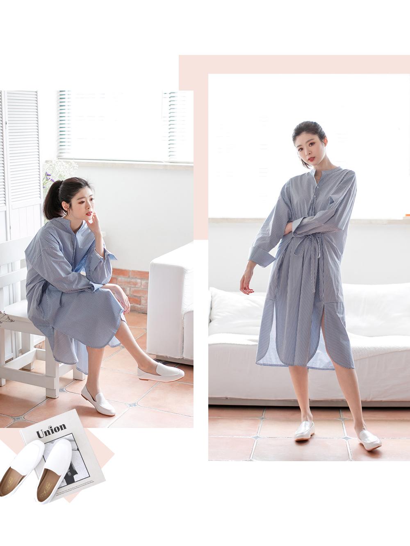 適合假日約會的清新衣著,藍色洋裝+白色樂福鞋穿搭