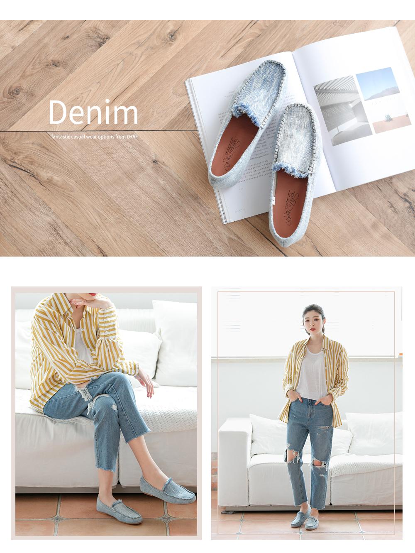雪花刷色樂福鞋與牛仔褲穿搭,舒適有型,踏青必備!