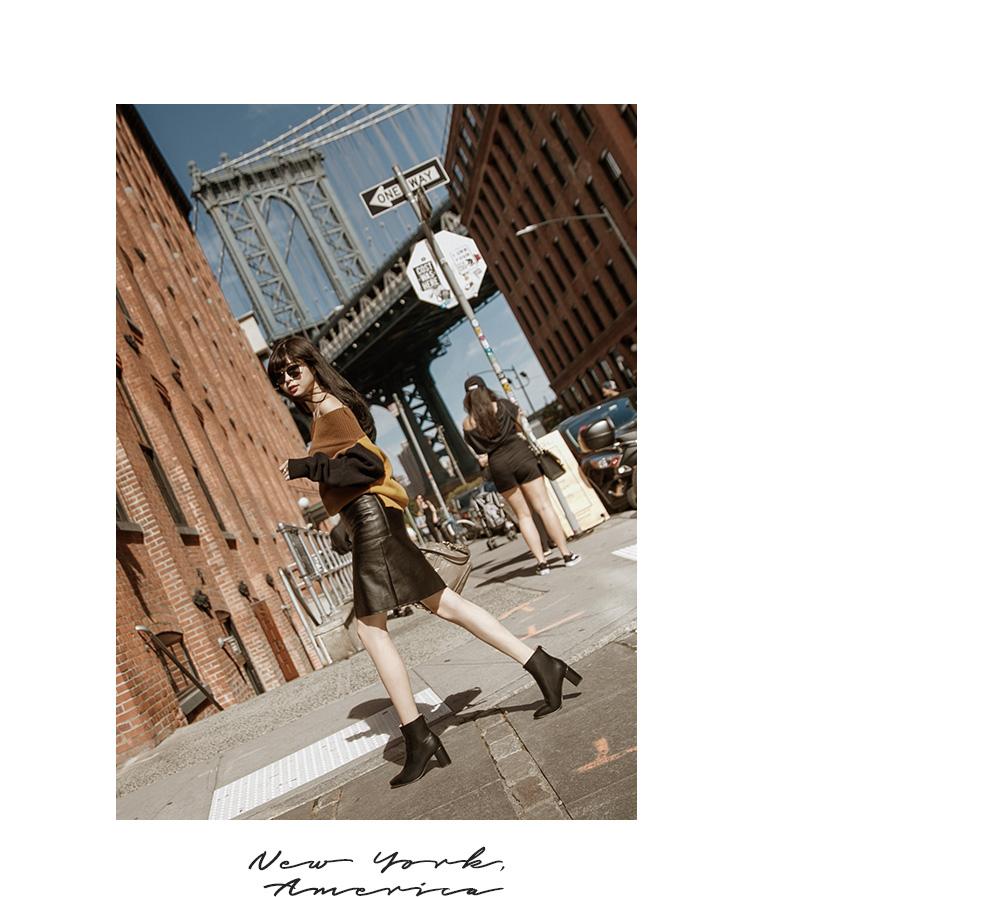 紐約街拍時尚素面美型粗高跟短靴