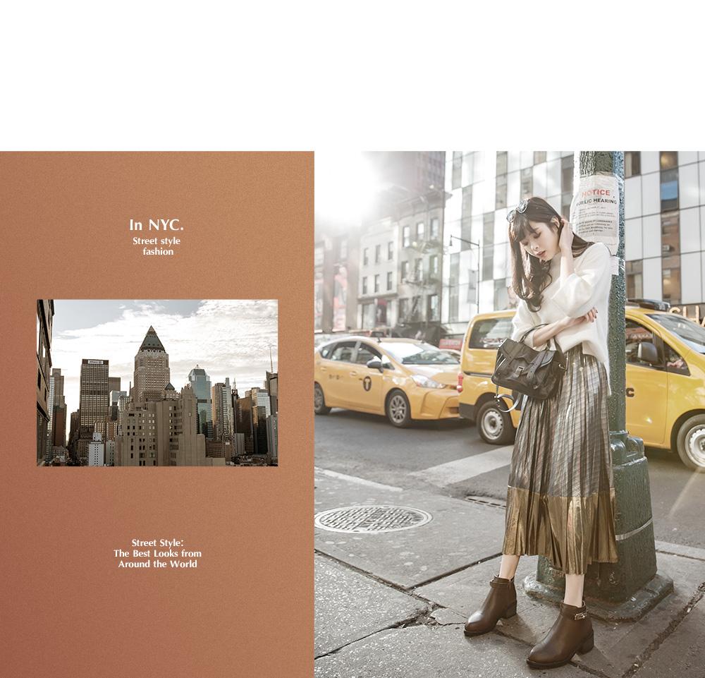 紐約街拍金色鎖釦尖頭低跟短靴